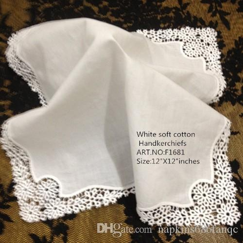 Set of 12 Home Textiles White Ladies Handkerchief 12 inch Embroidered crochet lace edges hankies hanky For Bridal Gifts