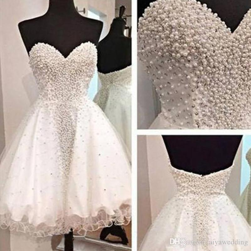 2019 New Glamorous Sweetheart Open Back Short Homecoming Dresses Crystals Beaded Pearls Cocktail Party Gowns Mini Sweet 16 Girls Dresses