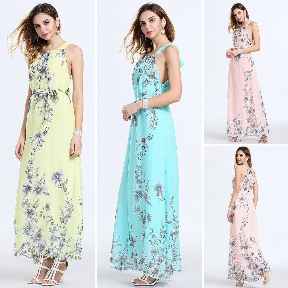 2016 Traje de gala vestido de gasa de la estación de verano de Europa Posimi Tercera impresión Sandy Beach Longuette Bodycon vestidos de mujer Ropa