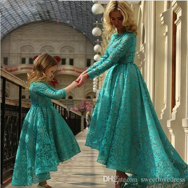 lTurquoise кружева мать и дочь Matchindresses для девочек первое причастие платья для девочек цветочные платья для свадеб