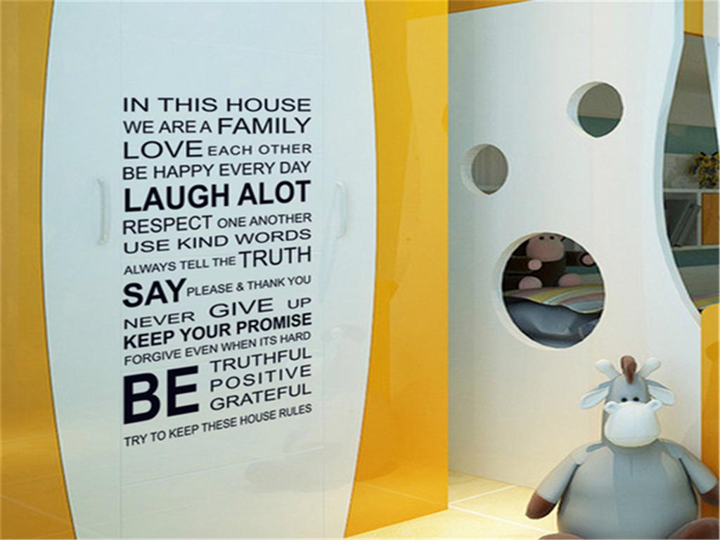 60x115cm Home Family Rules Words Wall Stickers For Kids Rooms Living ...