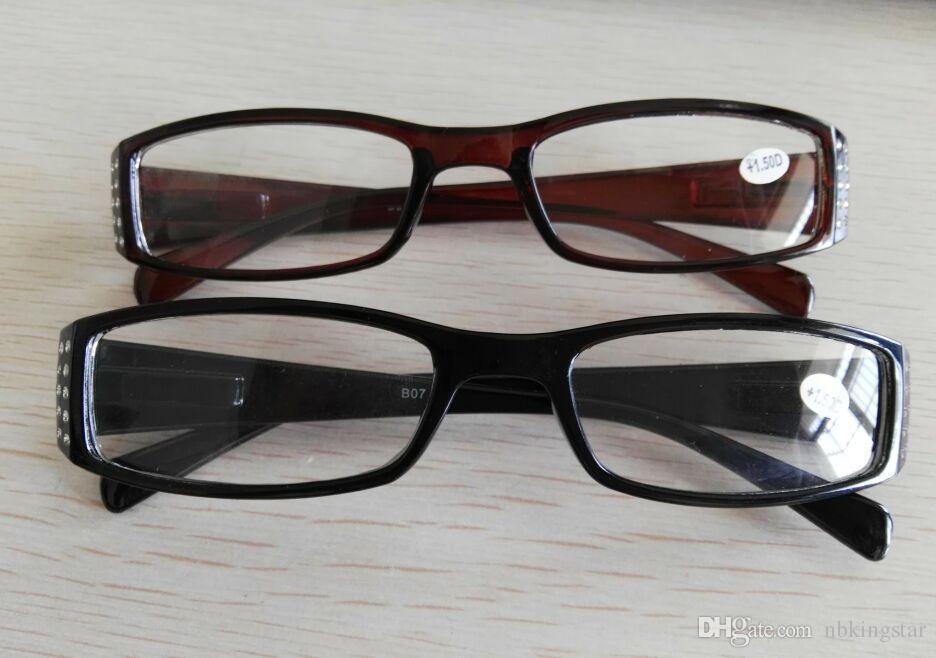 Novas Mulheres Diamante Fino óculos de Leitura de Cristal Frame Reader para Lady Black Brown 20 pçs / lote Frete grátis