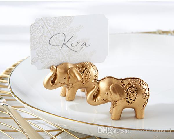 10Pcs/lot Golden Gold Lucky Elephant Place Card Holder Photo Holder Wedding Bridal Shower Favors and Gift Free shipping