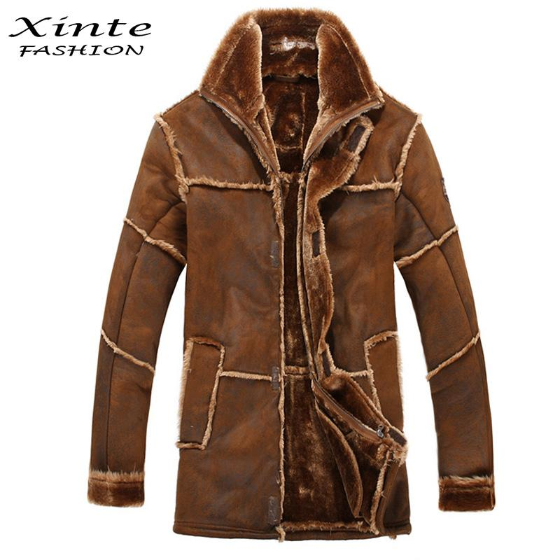 Wholesale-European Style Male Fashion Thick Warm Outwear Winter Mens Faux Fur Coat Spliced Suede Leather Jacket Parkas Fast Shipping