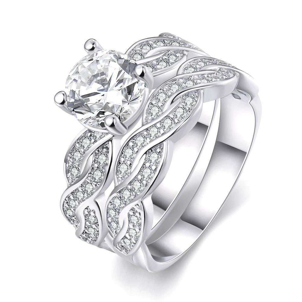It is a picture of 44 Infinity Wedding Band Anniversary Engagement Ring Bridal Set 44KGP Gold/White Gold Cubic Zirconia US Size 44 44 From Jdh20144, $44.4444 DHgate.Com