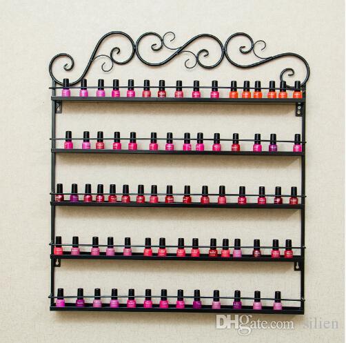 Support de bureau pour vernis à ongles 5 couches avec support de rangement pour étagères Iron Art Shelf Holdr sur étagère Nail Salon Black / White / Coffee