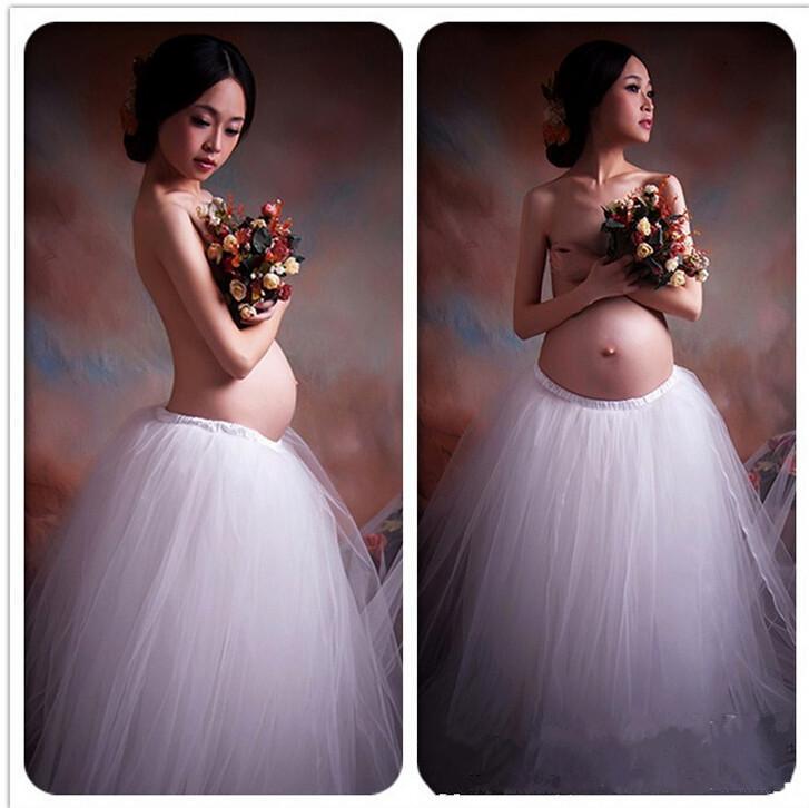 Whitw Gown to Flooring Desses Maternità Fotografia Puntelli Abito in pizzo Fotografia incinta Props Fancy Gravidanza Servizio fotografico