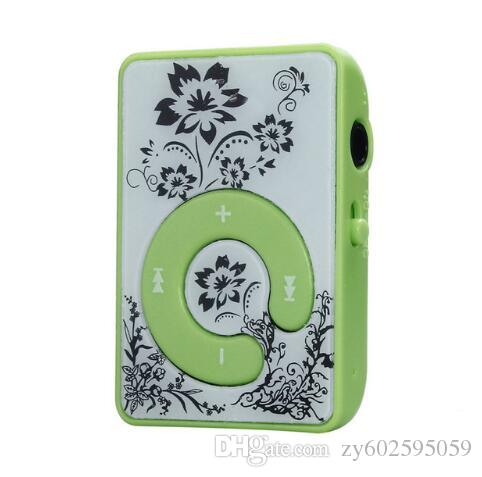 10pcs/lot Hot sale Flower Pattern Mini Clip Flower Pattern MP3 Player Music Media Support Micro SD TF Card Plastic High Quality