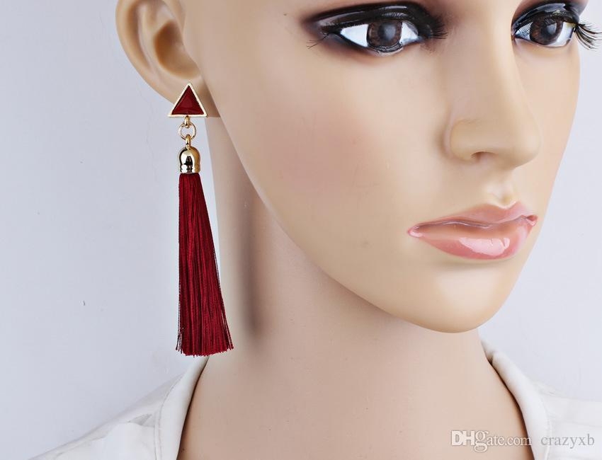 Mode Bohemian Vintage Ohrringe Aushöhlen Dreieck Strass Tropfen Lange Quaste Ohrringe Schmuck Für Frauen