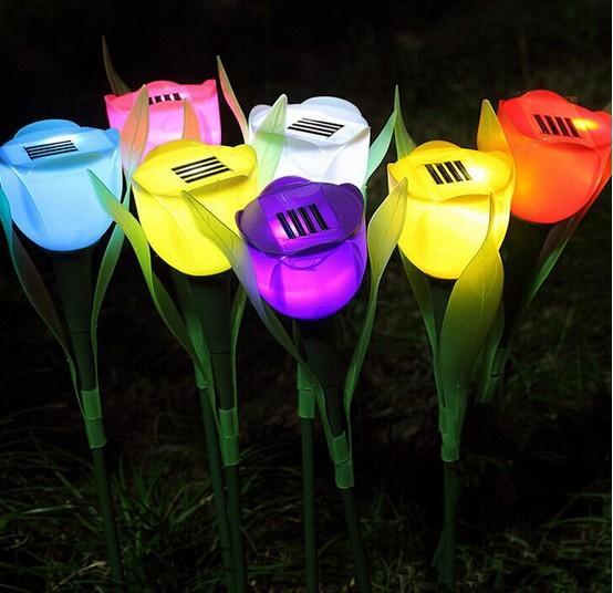 Gramado à prova d 'água ao ar livre lâmpada solar tulipas rosas luzes do feriado do Natal luzes LED jardim luzes varanda 10 pcs