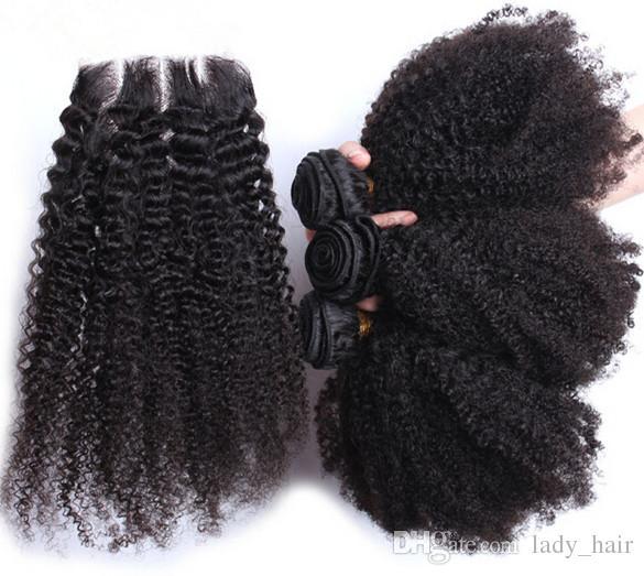 브라질 4 * 4 머리 묶음 머리카락과 함께 자연 색상 인간의 머리 아프고 변태 곱슬 3pcs 인간의 머리카락 레이스 클로저와 함께 4pcs / Lot