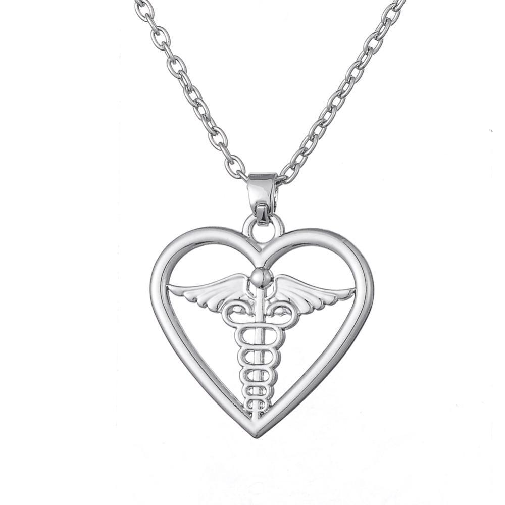 الحرة الشحن رمز الطبي صولجان في قلادة قلادة القلب للطبيب وممرضة حزب اللباس والمجوهرات