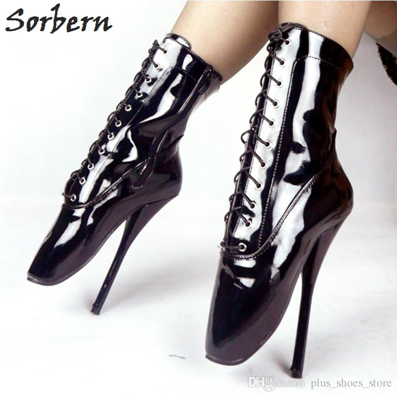 """Hot Black Lackleder Ballett Ferse Boot Schuhe Ultra High Heel 18 Cm / 7 """"Stilleto Ferse Ballett Stiefel Sexy Fetisch Frauen Knöchel Ballett Schuhe"""