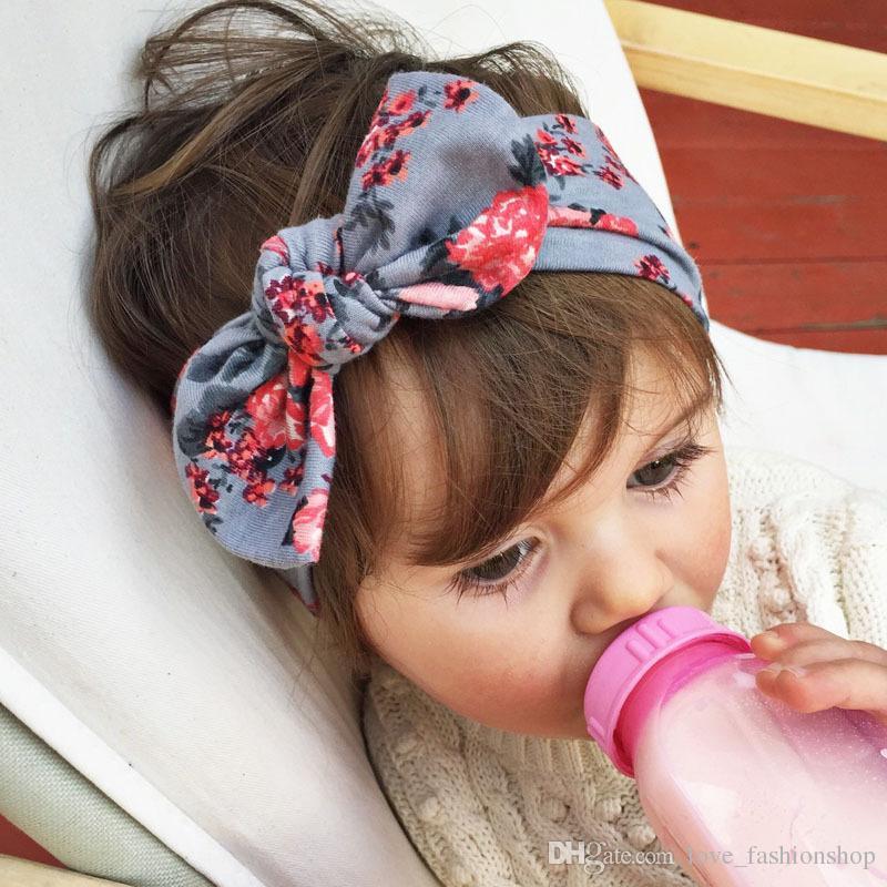 6 ألوان الطفل مطبوعة زهرة أرنب الأذن رباطات أطفال البوهيمي عقدة العصابة أغطية الرأس اكسسوارات للشعر بوتيك الشعر الانحناء الطفل hairbands