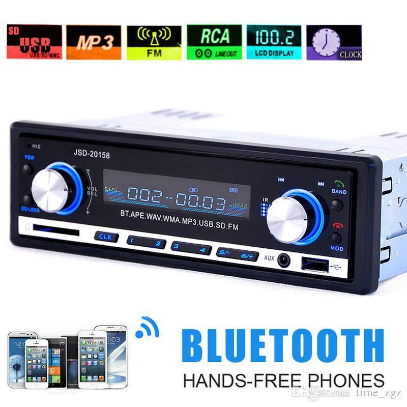 5PCS 자동차 라디오 USB 블루투스 V2.0 Autoradio JSD 20158 자동차 스테레오 오디오 대시 FM 수신기 Aux 입력 수신기 USB MP3 MMC WMAautoradio