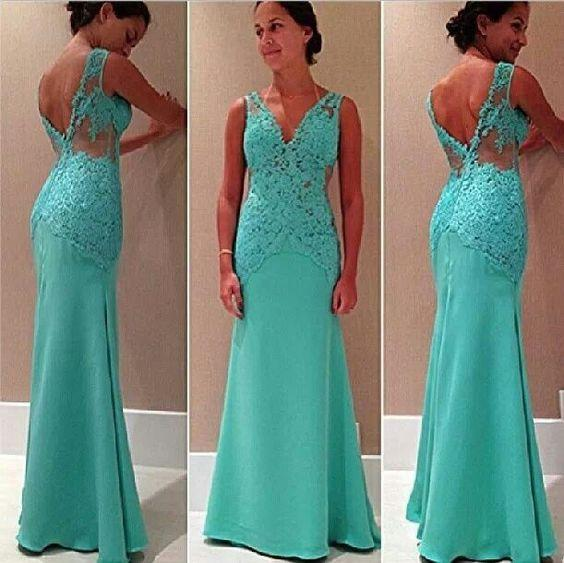 Long Evening Gown Turquoise Green Lace Deep V Neck Backless Prom Dresses 2018 Sheath Long Chiffon Special Occasions Dress For Ladies