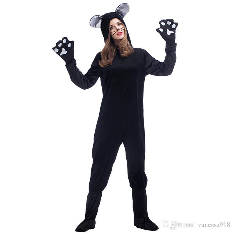 Halloween Black Cat Cosplay Costumes For Adult Women Pajamas Animal Black Dog Bear Clothing Unisex Cat Onesies Suit PS014