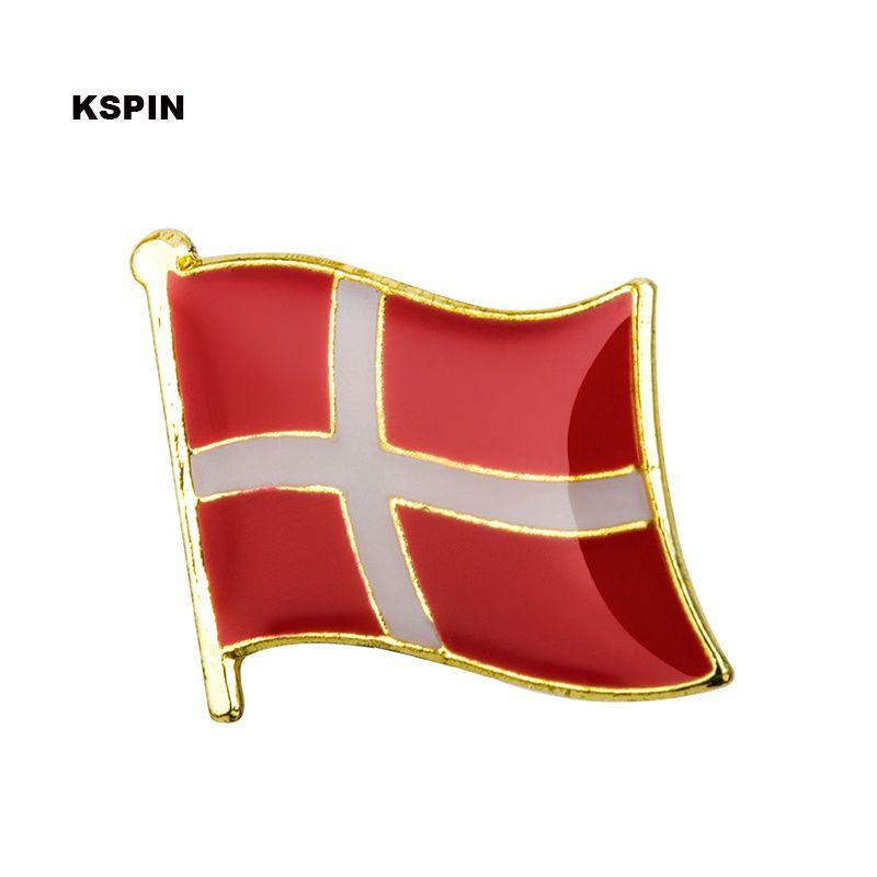 무료 배송 덴마크 메탈 플래그 배지 플래그 핀 KS-0048
