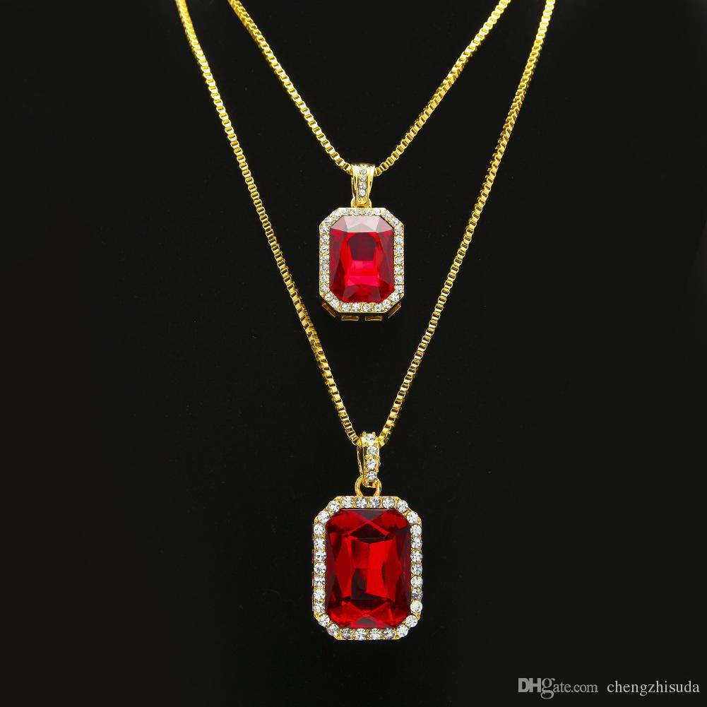 2pcs Collana di rubino Set di gioielli Set di gioielli in oro argento placcato in oro ghiacciato quadrato rosso pendente catena hip hop catena