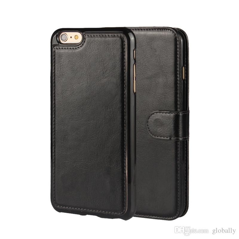 2 in 1 Magnete magnetico Magnetico Staccabile Portafoglio Rimovibile in pelle Retro Custodia per iPhone SE 5 5S 6 6S 7 Plus Galaxy S8 Plus