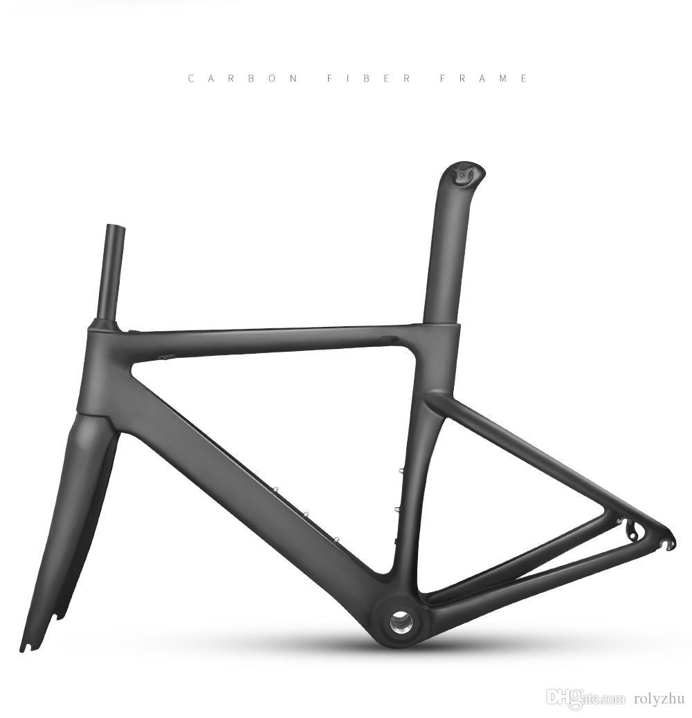 ¡Gran venta! marco de carretera de fibra de carbono marco de bicicleta de carreras marco de carretera de carbono + tenedor + tija de sillín taiwan T800 marco de bicicleta de carretera de fibra de carbono
