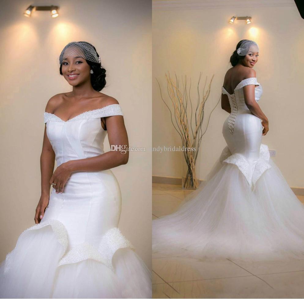 Gorgeous Mermaid Plus Size Wedding Dresses Off Shoulder Beaded Trumpet  Sweep Train Arabic African Maxi Elegant White Bridal Gowns Custom Lace  Wedding ...