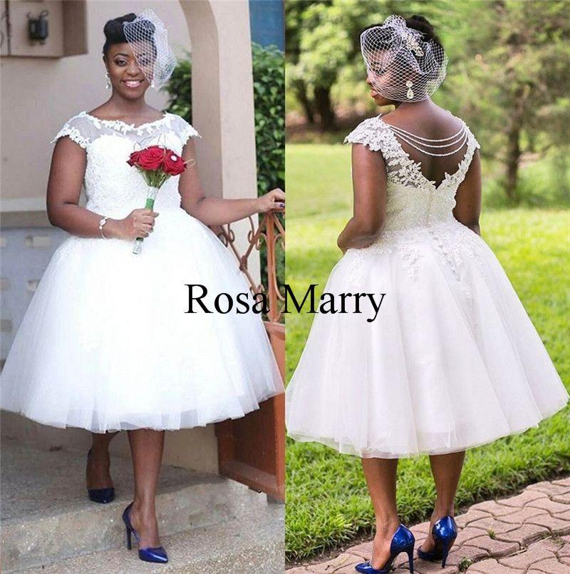Vintage Tea Length Ball Gown Wedding Dresses 2020 Vintage Lace