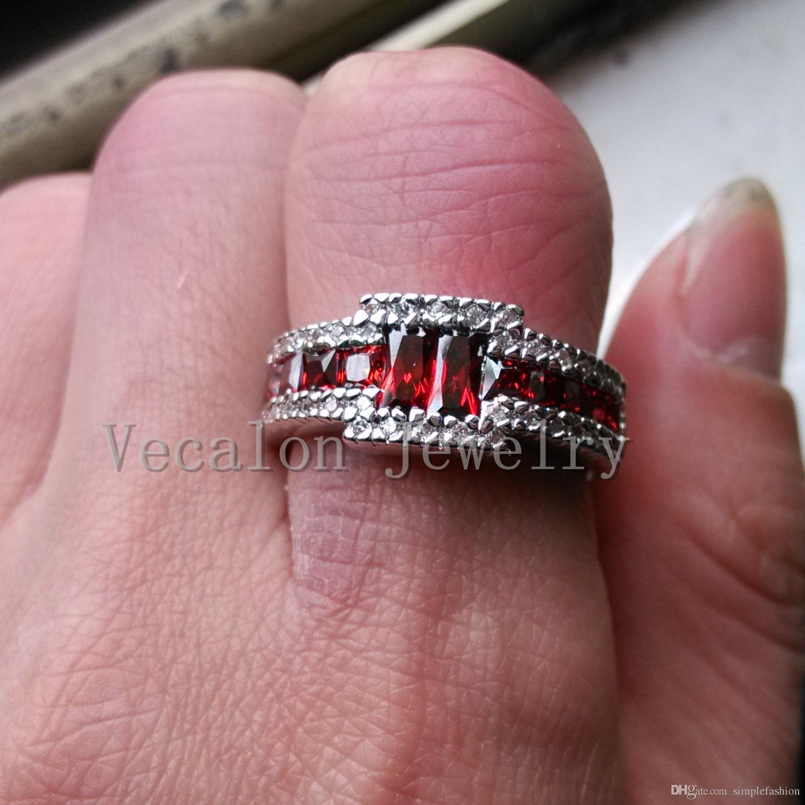 2018 Vecalon 2016 Trendy Male Engagement Band Ring Garnet Simulated ...
