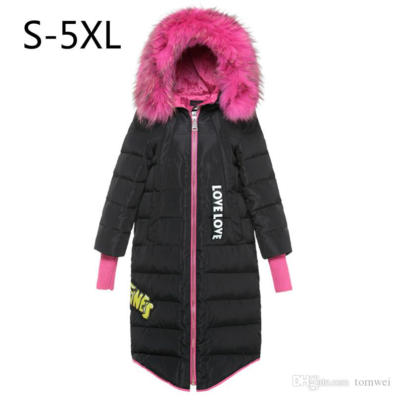 Women Down Jacket Hot Pink Fur Winter Coat White Duck Down Parkas Hood Thicking Warm Outwear Tops Real Raccoon Fur Plus Size 5xl 6xl