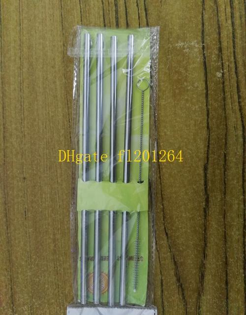 500sets / lot 무료 배송 4pcs 6x215mm 스트레이트 스테인레스 스틸 마시는 빨대 빨 + 1pcs 브러시 소매 패키지와 함께 설정