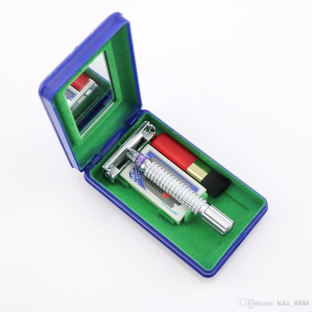 Rasoir de sécurité Weishi papillon poignée en métal 9306-G Matte Bright 9306 E-Gun couleur boîte de Voyage 9306-C 1 SET / LOT NOUVEAU