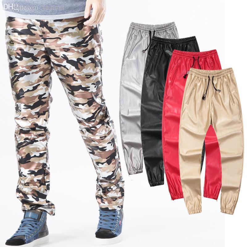 الجملة الأزياء بو الجلود ركض رجل السراويل فو الجلود شارع sweatpants الرجال الهيب البوب الركض pantalon أوم زائد الحجم 42، YA061