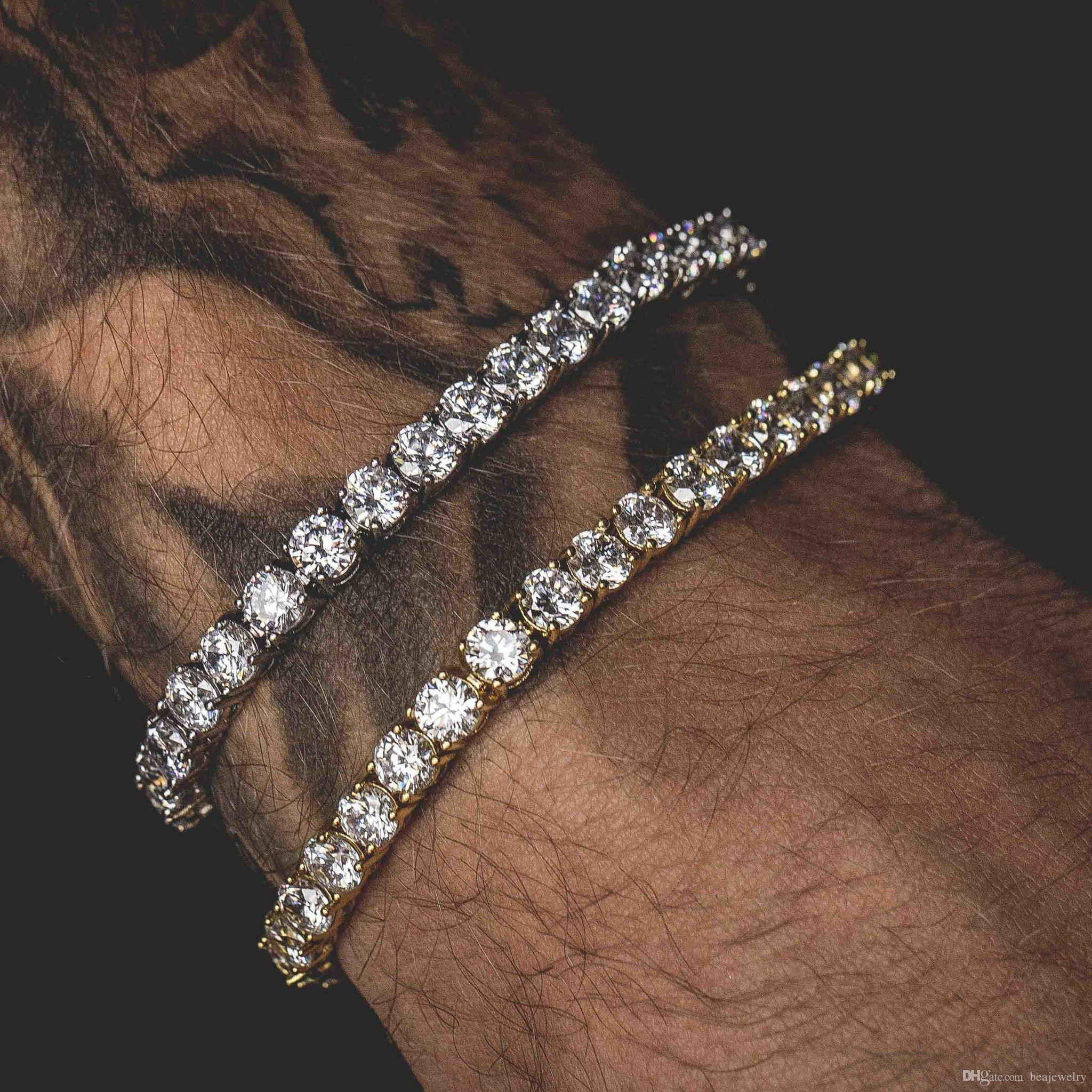 Men Iced Out Round Cut Tennis Bracelet 6mm Zirconia Triple Lock Hiphop Jewelry 1 Row Cubic Luxury CZ Bracelets
