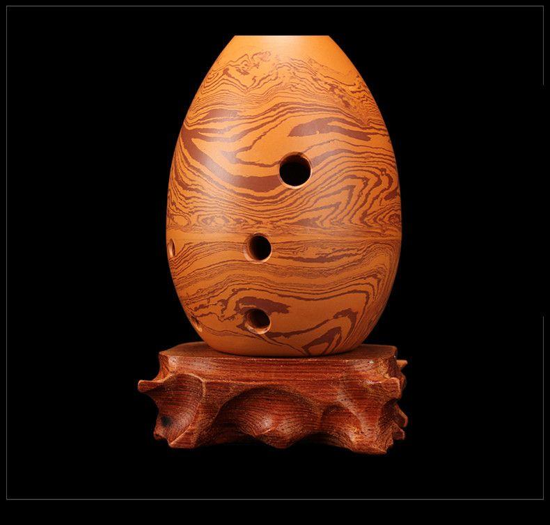 Chinois ancien Xun Flûte Rock grain Pottery Double chambre argile professionnel Instrument de musique Flauta G / F clé Céramique Ocarina Un huit trous