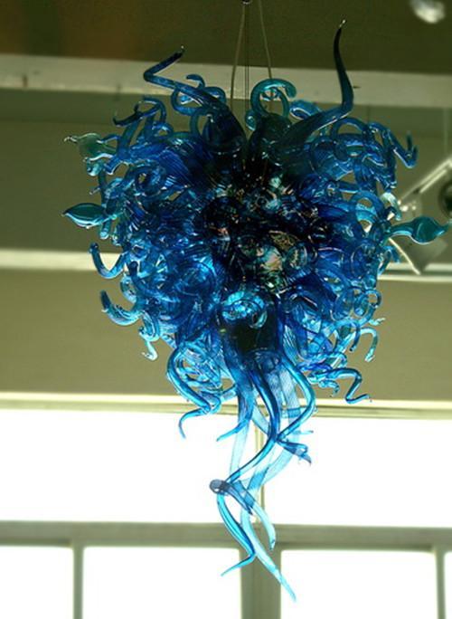 Blaue Liebe Mundgeblasenes Glas Kronleuchter Moderne Pendelleuchten Startseite Dekorative Murano Glas Kette Anhänger Beleuchtung mit Led-Lampen
