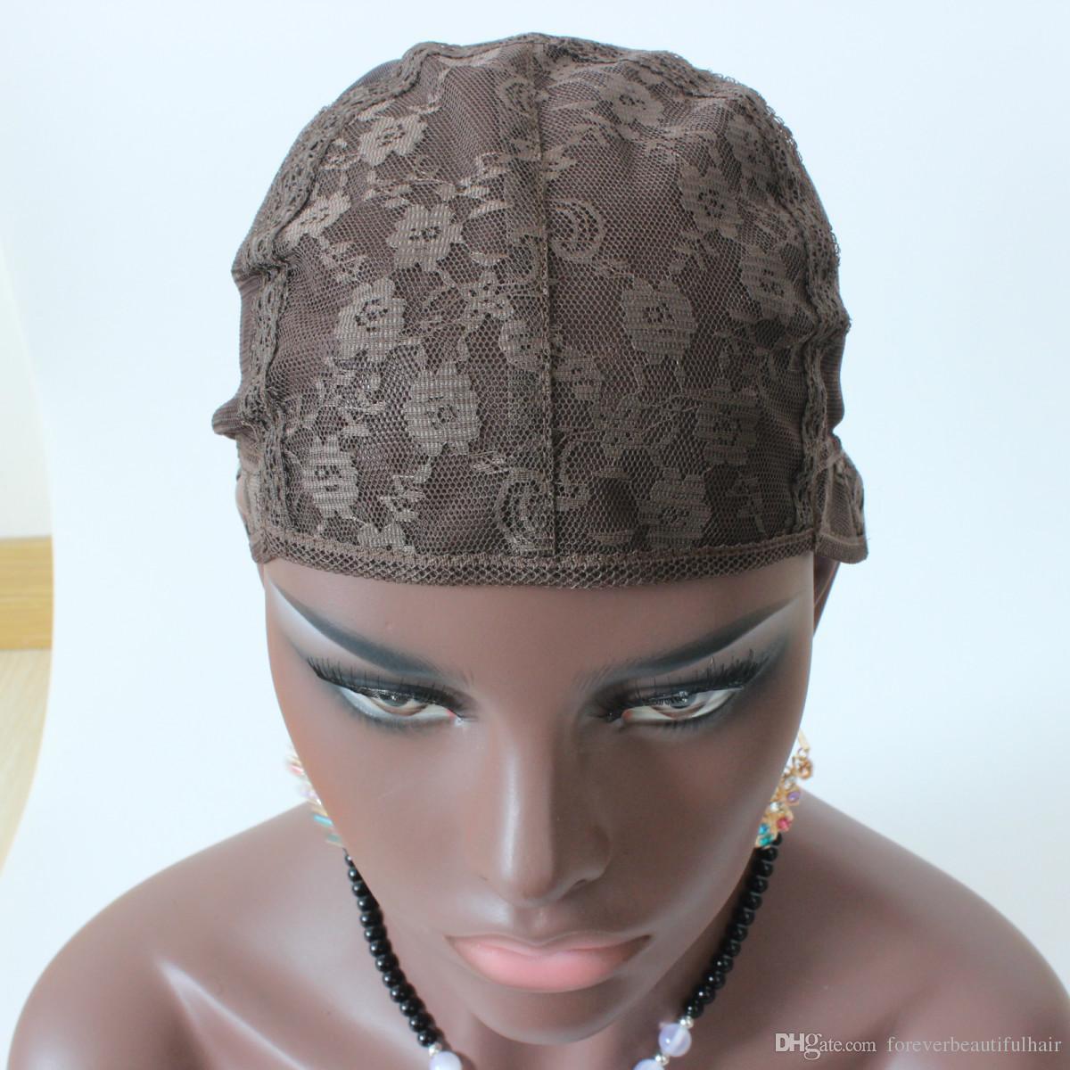 3pcs Jewish Wig Cap Brown Color S / M / L Glufteless Wig Caps för att göra peruker Stretch Lace Weaving Cap Justerbara band Medium Brown