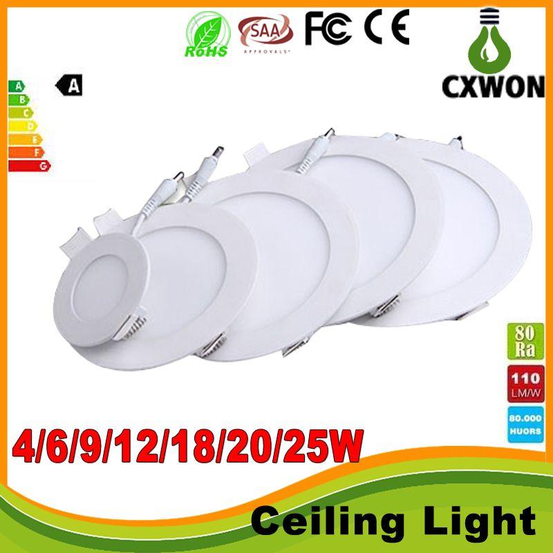 SMD2835 LEDパネルライトハイパワー9W 12W 15W 18W 20W 25Wの天井電球ランプ110-240Vスポットライトダウンライトキッチンリビングルームベッドルーム