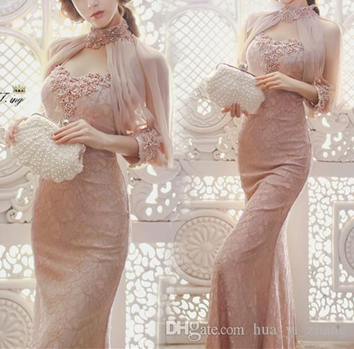 2017 Elegant Sheath Evening Dresses with Split 1/2 Sleeves High Neck Lace Back Lace-up Beadeds Pearls Crystal Prom Gowns