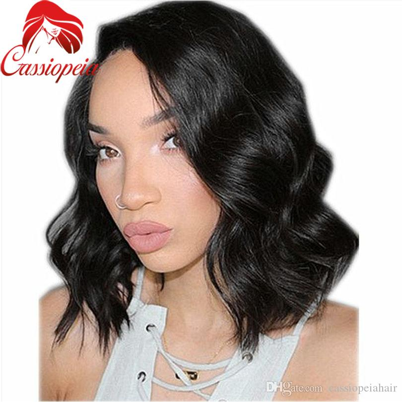 Top quality fulll lace wig Fashion Short Wave Wigs virgin hair Natural Black Heat brazilian Glueless full lace Bob Wigs For Black Women