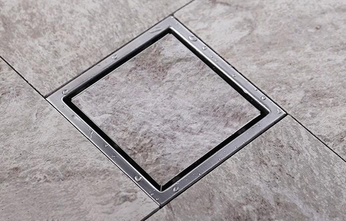 무연 최고 판매 타일 삽입 평방 바닥 폐기물 Grates 욕실 샤워 150mm X 150mm 304 스테인리스 욕실 드레인 DR700