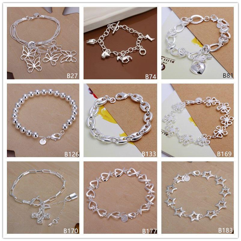 8 pieces mixed style fashion hot sale women's sterling silver plated Bracelet, Horse's hoof Five butterfly Cross 925 silver Bracelet EMB10