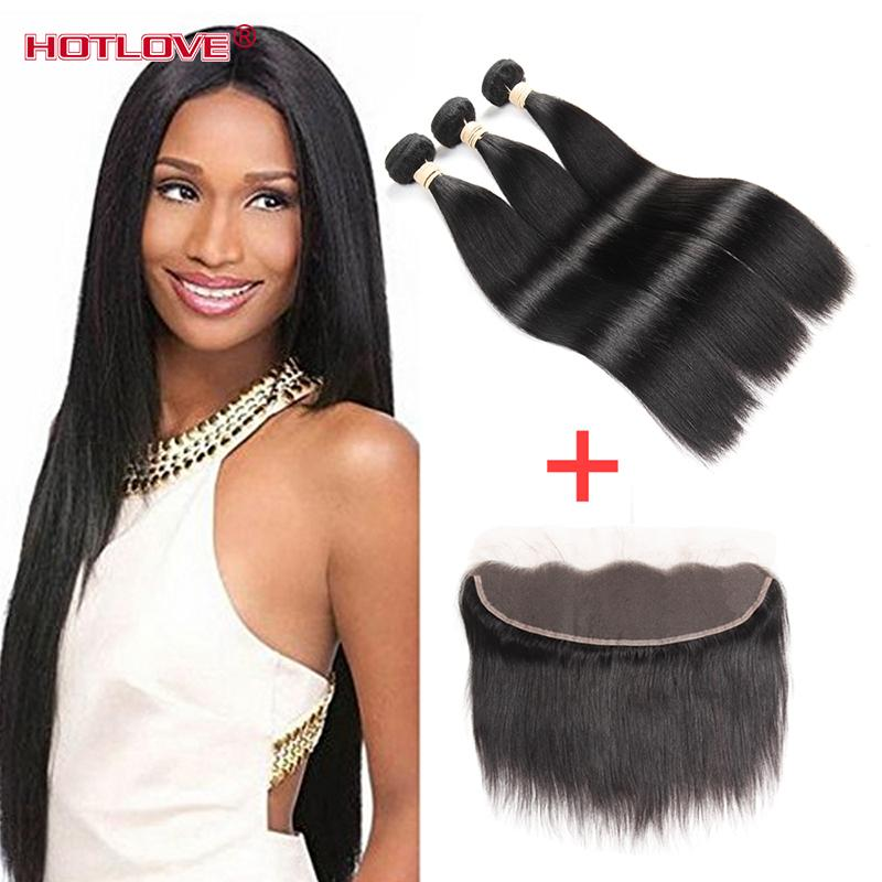 Brazilian Virgin Hair Straight Weaves 3 Bundle Deal with Lace Frontal Closure Free Part 13*4 inch Top Quality Hotlove Hair