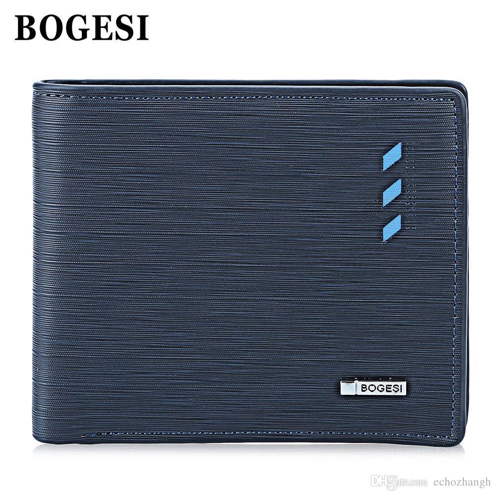 남자 + B를 들어 BOGESI 비즈니스 스타일 카드 현금 PU 가죽 남성 짧은 지갑 돈 지갑 남성 지갑 카드 홀더 지갑
