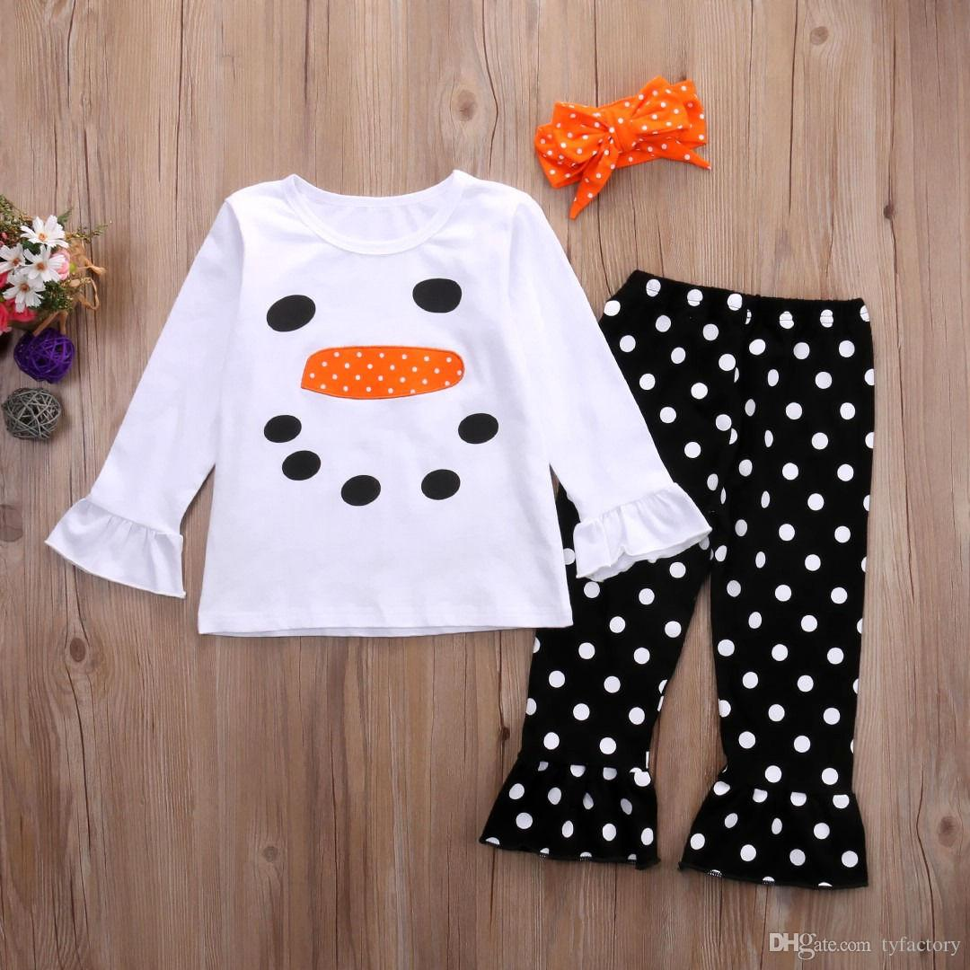 Hot Sale Christmas Baby Girl Clothes Toddlers Kids Outfit Snowman Face Tops Dot Long Pants With Headband Lovely XMAS Girls Boutique 1-6T