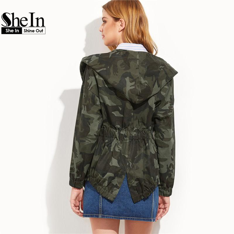 3cb5f7dee3883 Wholesale- SheIn Spring Jacket Women Casual Outerwear Womens Olive Green  Camo Print Hooded Shawl Collar Wrap Belted Jacket