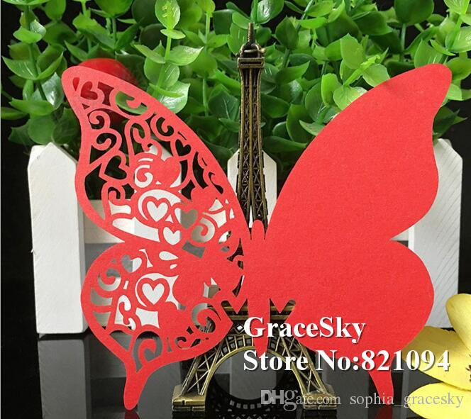 60X Free Shipping Laser cutting Decorations Laser Cutting Butterfly Paper Wine Glasses Place Seat Name Cards Wedding Party Paper Table Decor