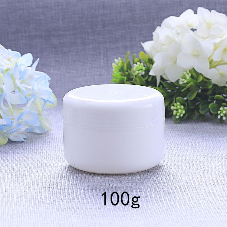 Weiße freie Plastikverfassungs-Flaschen-Gläser der Cremetiegel-100g nachfüllbare leere kosmetische Verpackungsbehälter 50pcs / lot HN14