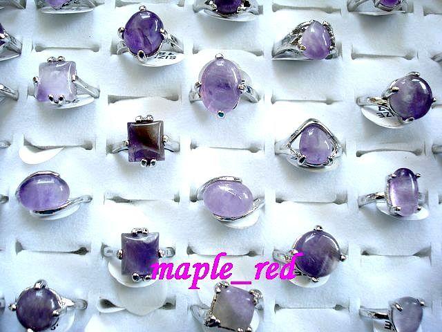 Anelli Amethyst della pietra della natura 30pcs / lot all'ingrosso Assorted i formati misti di Multi-Design per gli anelli dei monili di modo delle donne