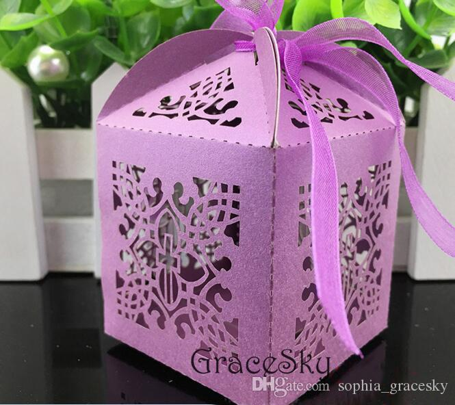 100pcs/lot Free shipping Laser Cutting cross decorative design Paper Chocolate Candy Boxes for Birthday wedding anniversary Party Decoration