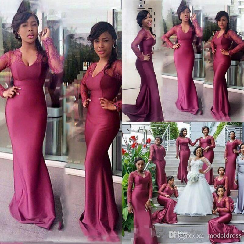 South African Mermaid Bridesmaids Dresses 2019 Lace Long Sleeves Long Formal Maid of Honor Purple Wedding Guest Party Gowns Cheap Custom